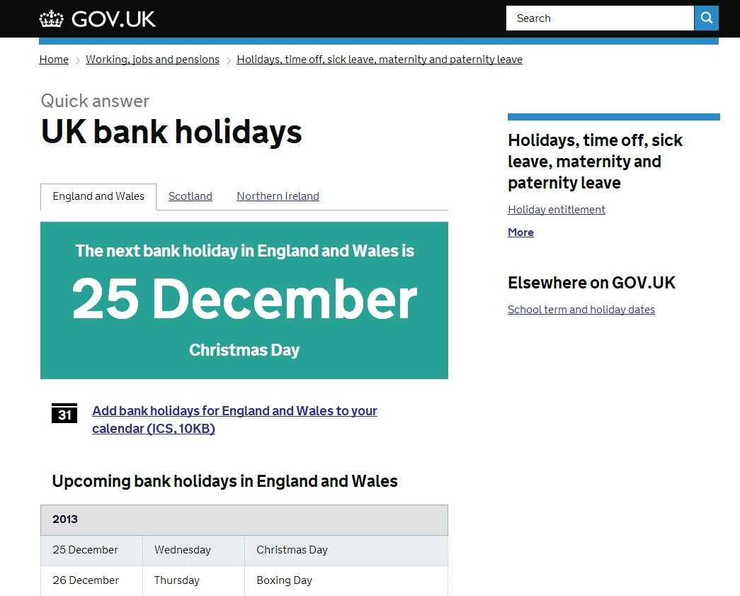 Gov.uk - bank holidays